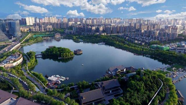 陕西西安:航拍重新开放的曲江池