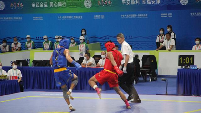 河南选手柳文龙获十四运武术散打男子75公斤级金牌