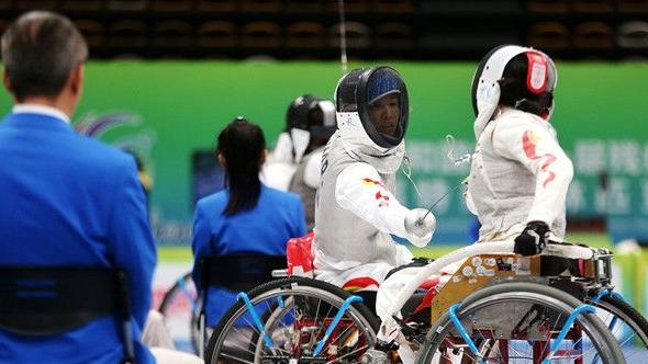 残特奥会轮椅击???陕西队选手肖蓉获银牌