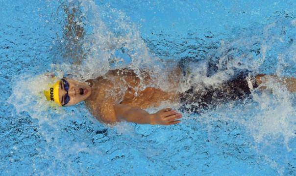 贾红光夺得游泳项目男子100米仰泳S6级金牌